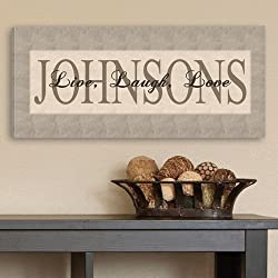 "Personalized Live, Laugh, Love Canvas Print - Family Canvas - Custom Canvas Sign - 8""x18"""