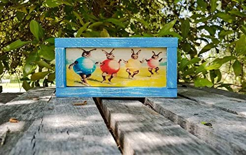 (Vintage Dancing Easter Rabbit Egg sign - Easter bunny decor - 1950's rustic sign - wooden farmhouse sign - Spring decor - Shabby Chic Decor )
