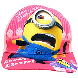 Official Despicable Me Minions Summer Sun Hats Baseball Caps, Sizes 52 cms (Ages 2-4) and 54 cms (Ages 4-8) With Velcro Fastening (54 cms (Age 4-8), Pink Baseball Cap EP4341)