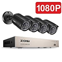 ZOSI 4-Channel 1080P HD Video Security System CCTV DVR 4 Indoor/Outdoor 2.0MP 1920TVL Surveillance Security Camera System (Full 1080P, HDMI Output, Weatherproof)