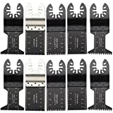 Lupan 10 pcs Mixed Metal/Wood Oscillating Multitool Saw Blade Set Fits Fein Multimaster, Porter Rockwell Cable,Black & Decker,Bosch Craftsman,Ridgid Ryobi,Makita Milwaukee,Dewalt,Chicago and more