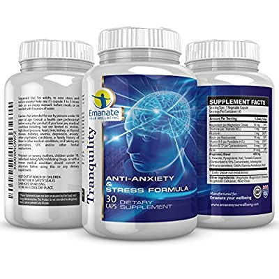 Tranquility:Anti-Anxiety & Stress Relief Formula With Nootropics - Tackle Social Anxiety - Panic Attacks - Common Anxiety Symptoms - Improve Concentration - Focus - Sense of Wellbeing -Peace Of Mind