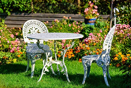 Angel White Garden Bistro Set with 26 in. Dia Table and Two Chairs for Yard, 3 Pieces Product SKU: PB11119 ()