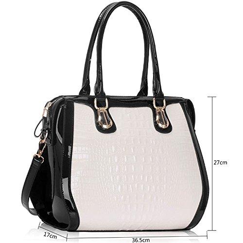 ANNA GRACE - Bolso cruzados de Charol para mujer Design 1 - White
