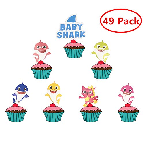 Price comparison product image MEISIYU 49pcs Shark Cupcake Toppers Shark Cake Toppers Party Supplies for Shark Theme Baby Birthday Baby Shower Cake Decorations