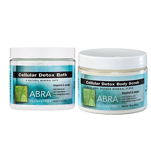 Abra Cellular Detox Bath (Abra Therapeutics Cellular Detox Body Scrub and Cellular Detox Bath With Grapefruit and Juniper, 18 oz. and 17 oz.)