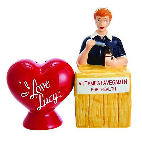 Kurt Adler Kurt S. Adler I Love Lucy Vitameatavegamin Handpainted Ceramic Salt & Pepper 2-Piece Set Salt and Pepper Shaker,