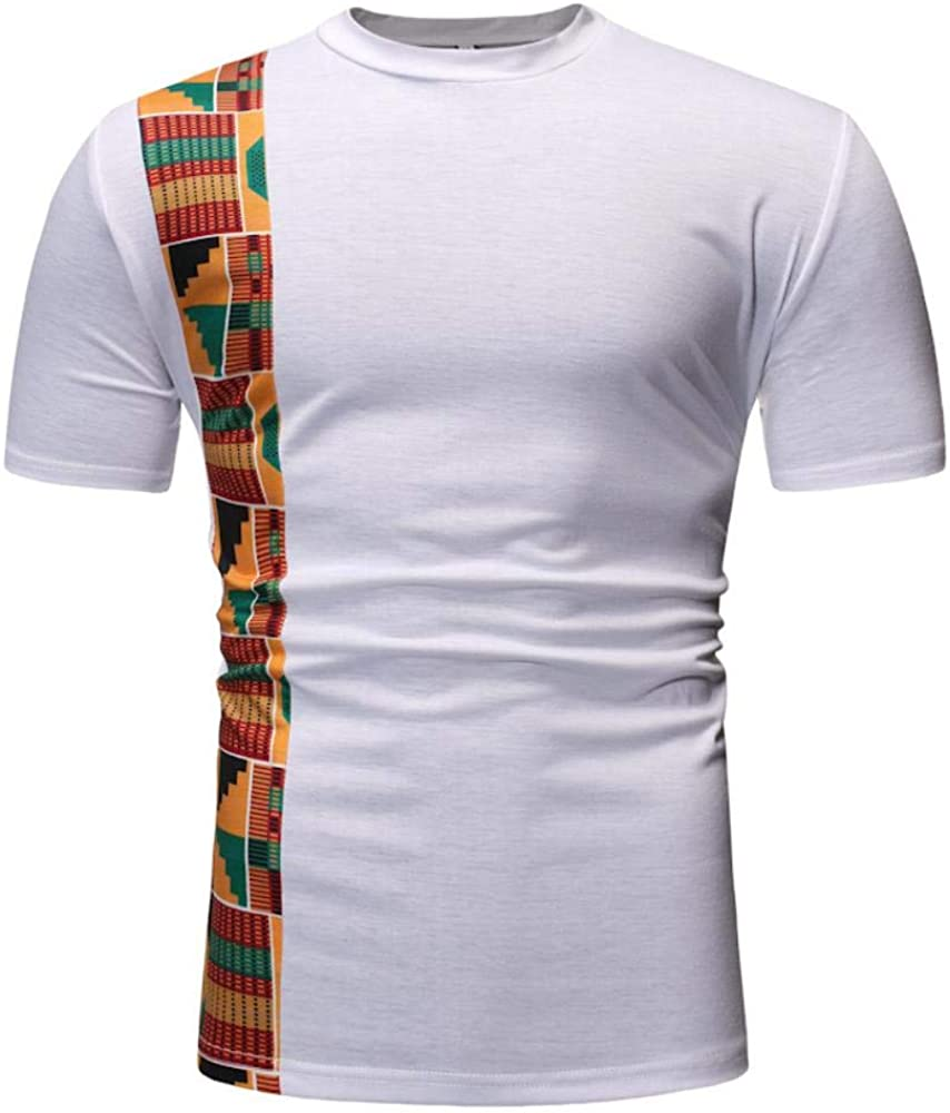 Los Hombres de Manga Corta Camiseta, poliéster Camiseta de Viento de la Manera del Verano Alrededor del Cuello de Mosaico al Azar Africa Tees turca