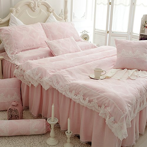 TideTex 4Pc European Rural Style Bedding Sets Lace Flouncing Duvet Cover  Dream Pink Bed Skirt High Grade Home Textiles Girls Fairy Bedding Sets  (Full, Pink)