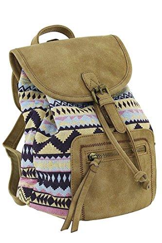 Corona Collection Small Southwest Design Backpack Handbag Tan ()