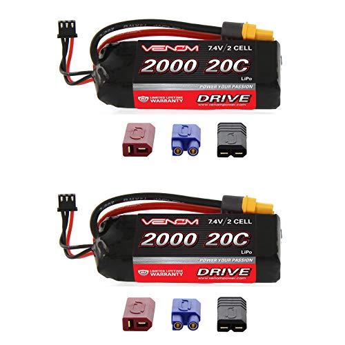 Venom 20C 2S 2000mAh 7.4V LiPo Battery with Universal 2.0 Plug (Traxxas / Deans / EC3) x2 Packs ()