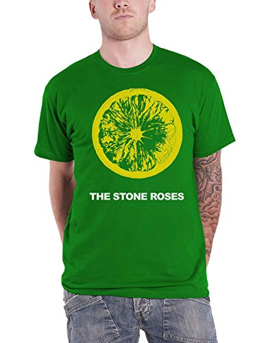 Stone Roses The T Shirt Lemon Band Logo Official Mens Green Official Logo Fashion Tee