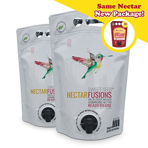 Sweet-Seed, LLC Nectar Fusions Hummingbird Food: [2-pack] All-natural & Dye Free, Wildflower Infused Hummingbird Nectar (200 oz. Ready-to-use Formula)