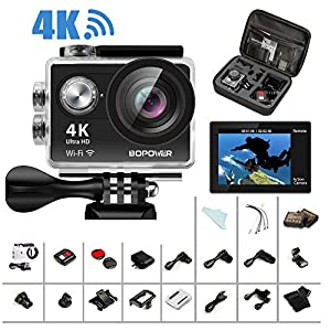 "4K Action Camera, Bopower 60fps WIFI Sport Anti-Shake Waterproof Camera with 2.4G RF Remote, Full HD 2.0""Display, 170 degree Ultra Wide Lens, 2Pcs 1050mah Batteries, Ton of Accessories"