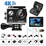 4K Action Camera, Bopower 60fps WIFI Sport Anti-Shake Waterproof Camera with 2.4G RF Remote, Full HD 2.0'Display, 170 degree Ultra Wide Lens, 2Pcs 1050mah Batteries, Ton of Accessories