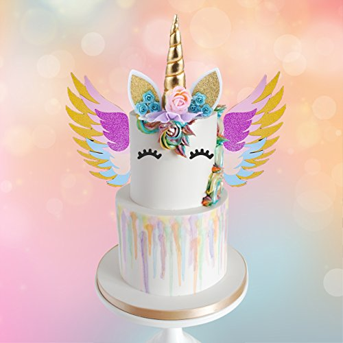 MORDUN Unicorn Cake Topper Gold Set | Reusable Glitter Unicorn Horn, Ears, Eyelashes, Flowers, Wings | Unicorn Party Decoration for Birthday Party, Baby Shower, Wedding, Wall, Nursery Room