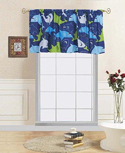 (GorgeousHome SHARK Design Navy Blue Deluxe Kids/Teens Boys Complete Bedroom Decor Comforter/Sheet Set or Window Dressing Curtain Panel or Valance (1PC WINDOW VALANCE))