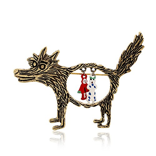 Winter's Secret Ancient Cartoon Fairy Tale the Wolf and Little Red Riding Hood Story Alloy Brooch Pin