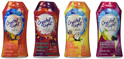 Crystal Light Liquid Variety Drink Mix 1.62 Fl Oz Mango Passionfruit, Berry Sangria, Tropical Coconut, Blackberry Lemonade (4 Pack)