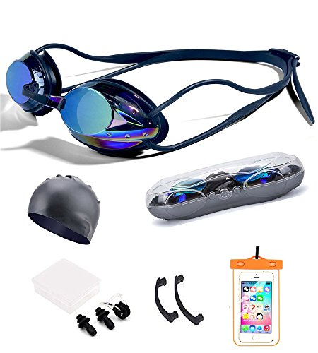LLOP 5 in 1 UPDATE Mirrored Training Swimming Goggles Set,Water Panoramic View Triathlon Equipment Swim Glasses No Leaking & Clear Anti-Fog, Waterproof, UV Protection (Colorful black)