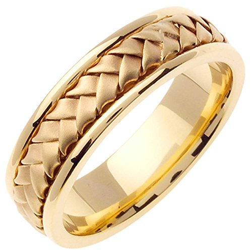18K Yellow Gold Braided Basket Weave Men's Comfort Fit Wedding Band (7mm) Size-16c1