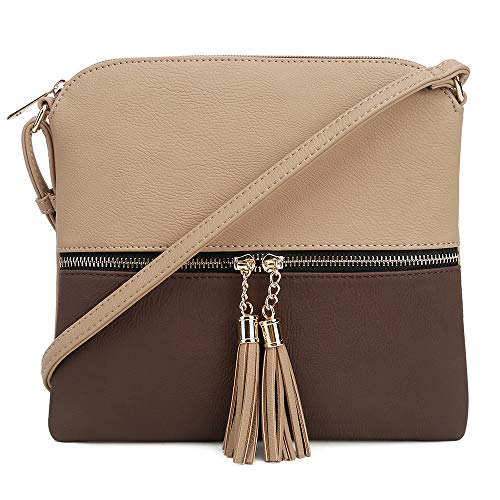 Taupe Zipper Tassel with Coffee Pocket Medium SUGU Crossbody and Bag SG Lightweight ZFvqTwU