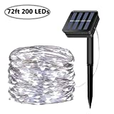 Solar String Lights, 200 LED Solar Fairy Lights 72 Feet 8 Modes Silver Wire Lights Waterproof Outdoor String Lights for Garden Patio Gate Yard Party Wedding Indoor Bedroom (Cool White)
