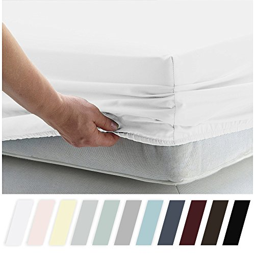 California Design Den 400 Thread Count 100% Cotton 1 Fitted Sheet Only, Pure White Full Fitted Sheet, Long - Staple Combed Pure Natural Cotton Sheet, Soft & Silky Sateen Weave