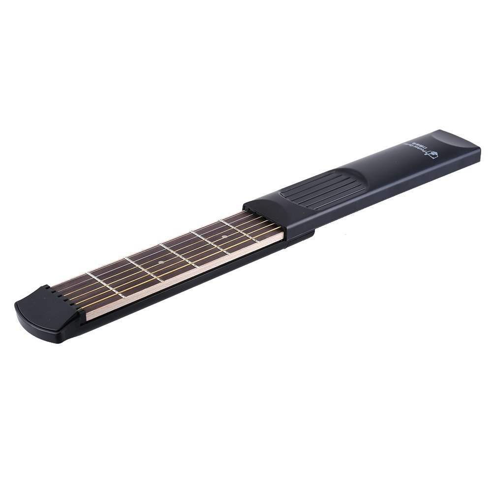 Andoer Portable Pocket Acoustic Guitar Practice Tool Gadget 6 String 6 Fret Model for Beginner Practice Guitar