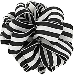 "product image for Offray 140510 Berwick 1.5"" Wide Wired Edge Carnival Grosgrain, 25 Yards, Black and White Stripe Pattern"