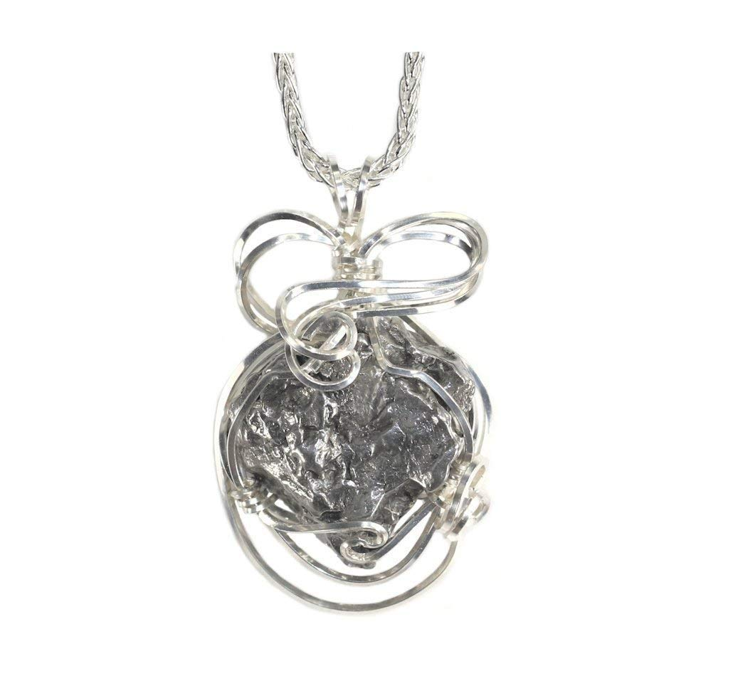 Meteorite Jewelry Pendant Necklace Sterling Silver with Matching 18