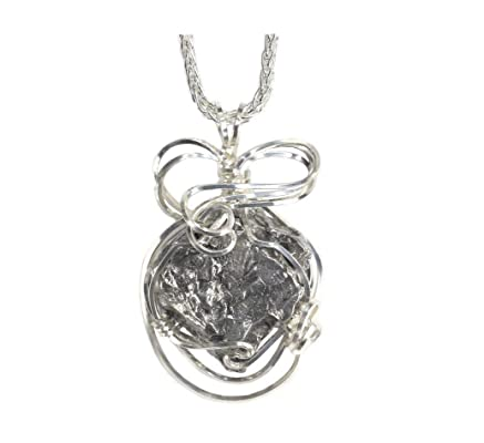 Meteorite Jewelry Pendant Necklace Sterling Silver with Matching 18\