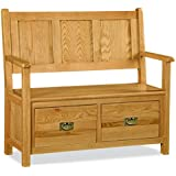 Zelah Oak Monks Bench - Hall Bench - Oak Bench - Storage Bench