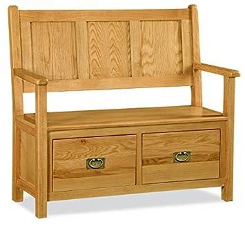 Roseland Furniture Zelah Oak Monks Bench   Hall Bench   Oak Bench   Storage  Bench