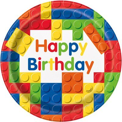 Colorful Building Blocks Birthday Party Plates and Napkins (Deluxe) by JJ Collections
