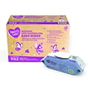 Parents Choice Baby Wipes, 12 packs of 96 (1152 count) (Sensitive Aloe)