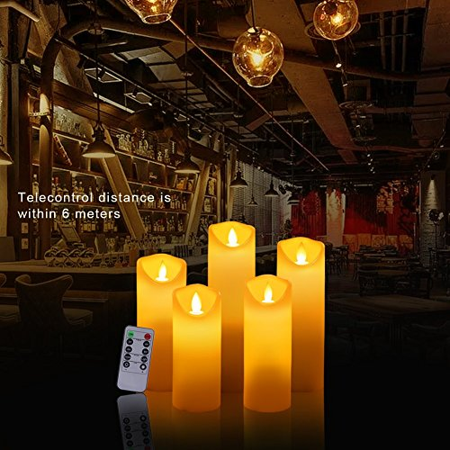 ACROSS Everlasting Flickering Flameless Candles Real Wax Pillar Led Candles with 10-Key Remote Control Hours Timer for Outdoor Wedding Party Bar, Set of 5(D 2''X H 5''5.5''6''7''8'') (5set) by Across