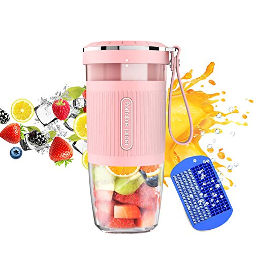 Portable Blender, Cordless Personal Blender Juicer, Mini Mixer, Waterproof Smoothie Blender With USB Rechargeable, BPA Free Tritan 300ml, Home, Office, Sports, Travel, Outdoors Pink