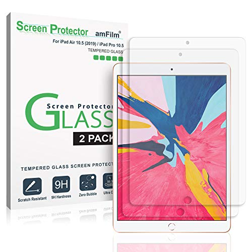amFilm Glass Screen Protector for iPad Air 3 (2019) 10.5 inch, iPad Pro 10.5 (2017) (2 Pack) Tempered Glass, Apple Pencil Compatible (Crystal Screen Protector)