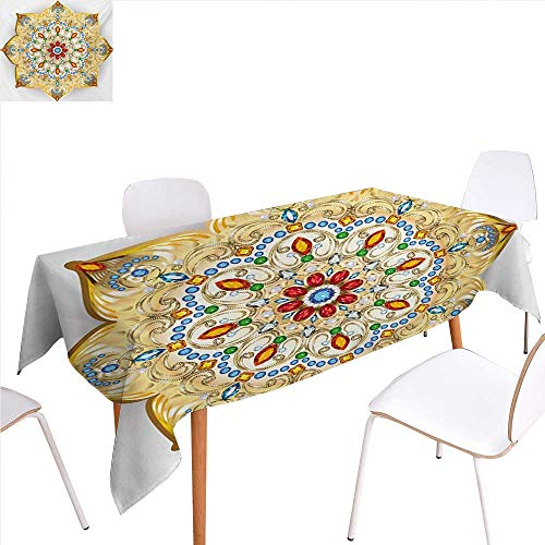 familytaste Mandala Patterned Tablecloth Brooch Inspired Design Mandala Geometric Vintage Design Lively Figure Digital Print Dust-Proof Oblong Tablecloth 70