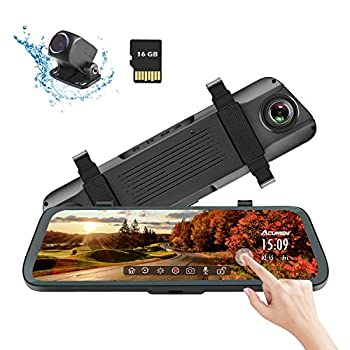 Image of Acumen Mirror Dash Cam Digital Rear View Mirror 10'' Touch Screen, Dual Lens 1080P Full HD Cameras ADAS Motion Detection Parking Mode G-Sensor Loop-Recording Night Vision with 16GB SD Card (R1080P) In-Mirror Video