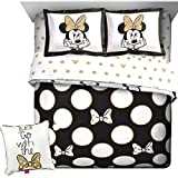 Disney's 8pc MINNIE MOUSE Black White Polka Dots w/GOLD Bows REVERSIBLE FULL SIZE Comforter(76'' x 86''), Two Pillow Shams, Full Size Sheet Set + ONE DEC PILLOW!