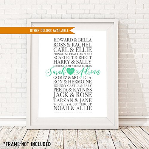 PERSONALIZED Wedding and Anniversary Art - Romantic Movie Couples Print - Customized Print Includes Names and the Special Date - Great Gift for Engagements