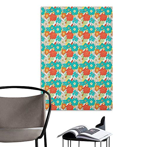 Wall Art Canvas Prints Floral Doodle Style Whimsical Pattern of Flowers Rich in Color Freshness of Spring Theme Multicolor Stickers for Wall Home W24 x H36 -