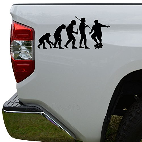 Rosie Decals Ape Human Evolution of Skateboarding Skateboard Die Cut Vinyl Decal Sticker For Car Truck Motorcycle Window Bumper Wall Decor Size- [15 inch/38 cm] Wide Color- Matte Black (Ape Skate)