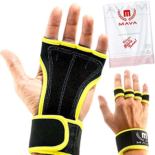 Leather Padding Gloves Cross Training Gloves with Wrist Support for WODs,Gym Workout,Weightlifting & Fitness-Leather Padding, No Calluses-Suits Men & Women-Weight Lifting (Yellow, X-Small)