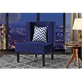 Accent Chair for Living Room, Upholstered Armless Velvet Chairs with Back Cushion and Natural Wooden Legs (Navy)