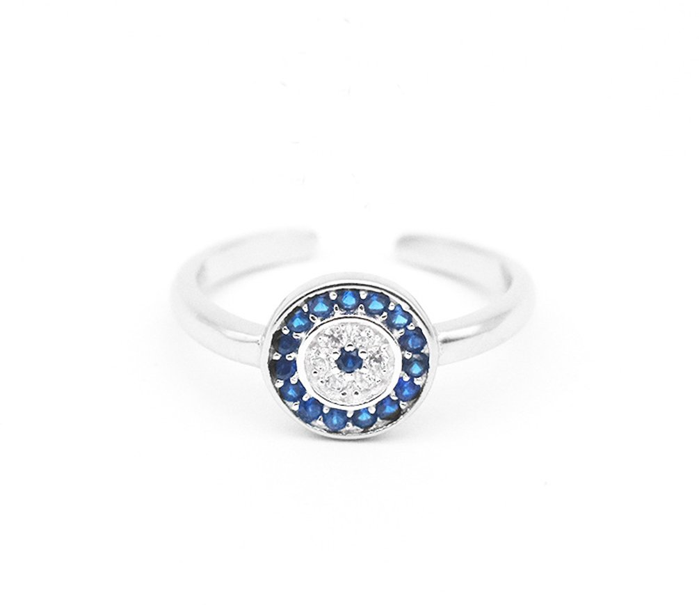 FaryDream Platinum Plated 925 Sterling Silver Round Blue Eye Ring for Women Evil Eye Ring
