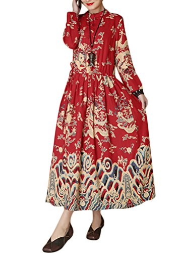 Minibee Women's Dragon Print Pattern Clothing (Red-Long Sleeve)