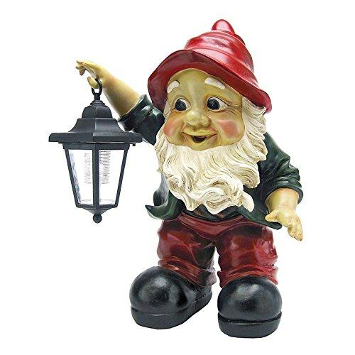 Solar Garden Gnome Statue - Edison Gnome with Solar Lantern - Outdoor Garden Gnomes - Lawn Gnome Statues